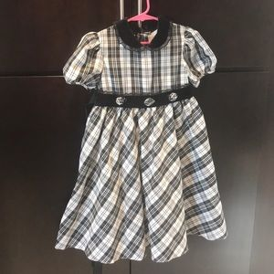 Plaid little girls formal dress